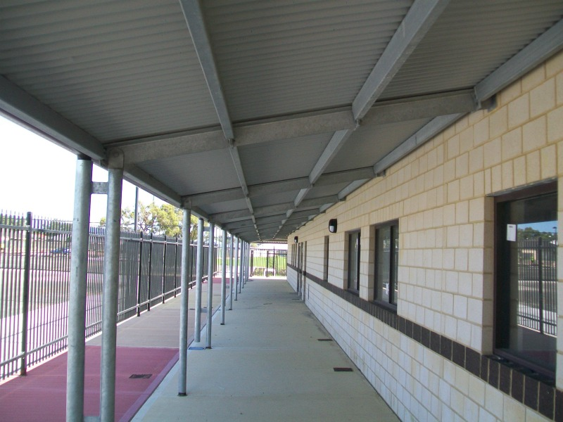 Veranda of the newly completed school designed by WML Structural engineering consultants in Western Australia.