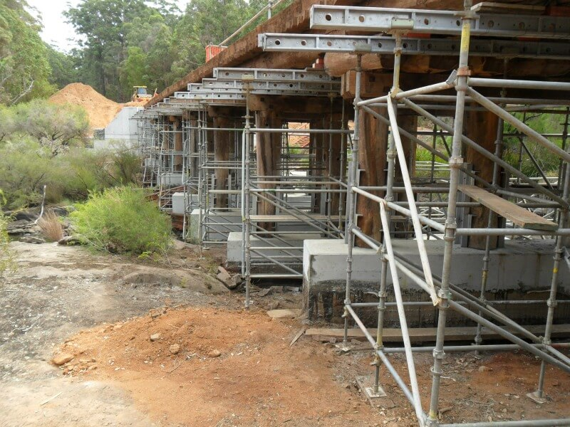 Scaffolding going up on the Bannister Road bridge structural engineering consultants project by WML in WA.