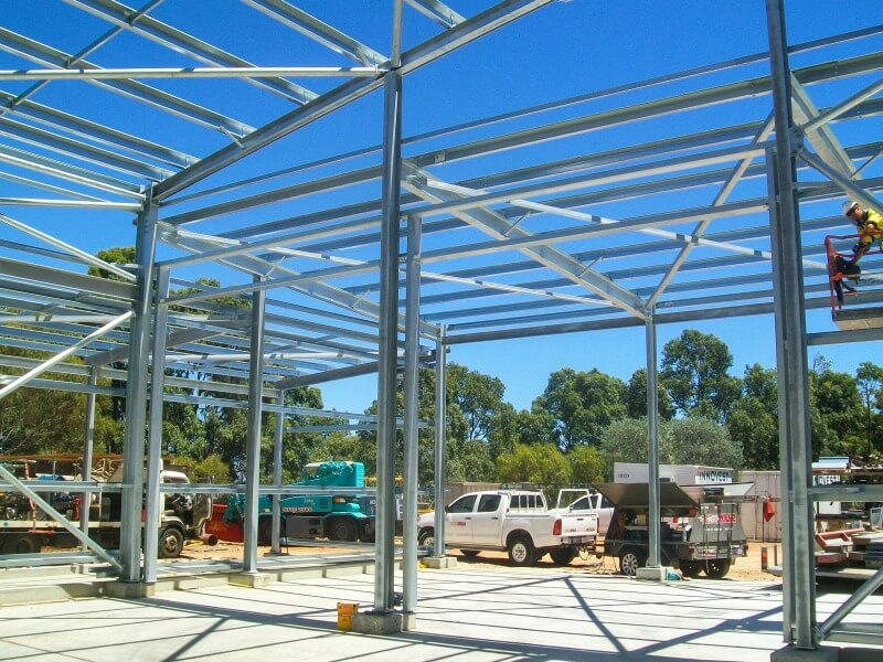 The framing for the workshop extension being errected by WML structural engineering consultants in WA.