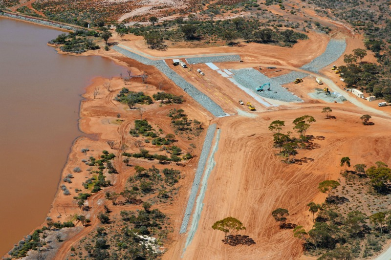 Birds eye view of the Kambala Weir civil works project in WA.