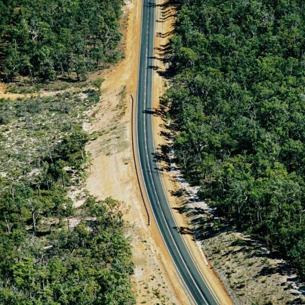 A birds eye view image of one of WMLs civil works projects working on a segment of Sues Road in Western Australia.
