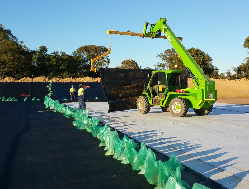 Laying of materials by WML Civil works team at Banksia road cell project in Western Australia.